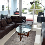 TV, wine fridge and other amenities at Azure Luxury Suites Miami Beach